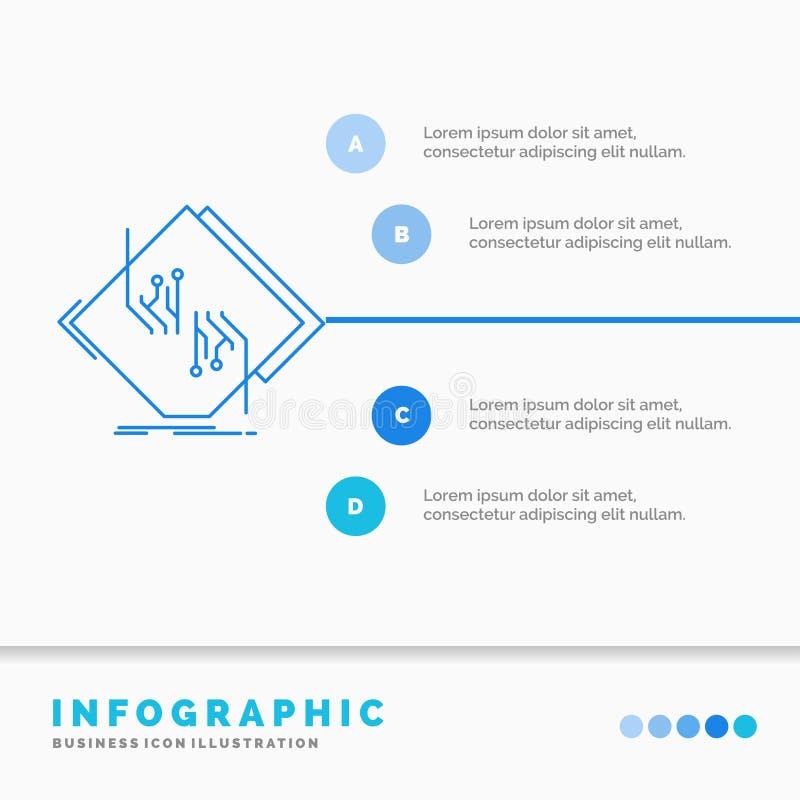 Raad, spaander, kring, netwerk, elektronisch Infographics-Malplaatje voor Website en Presentatie Infographic stijl van het lijn d stock illustratie