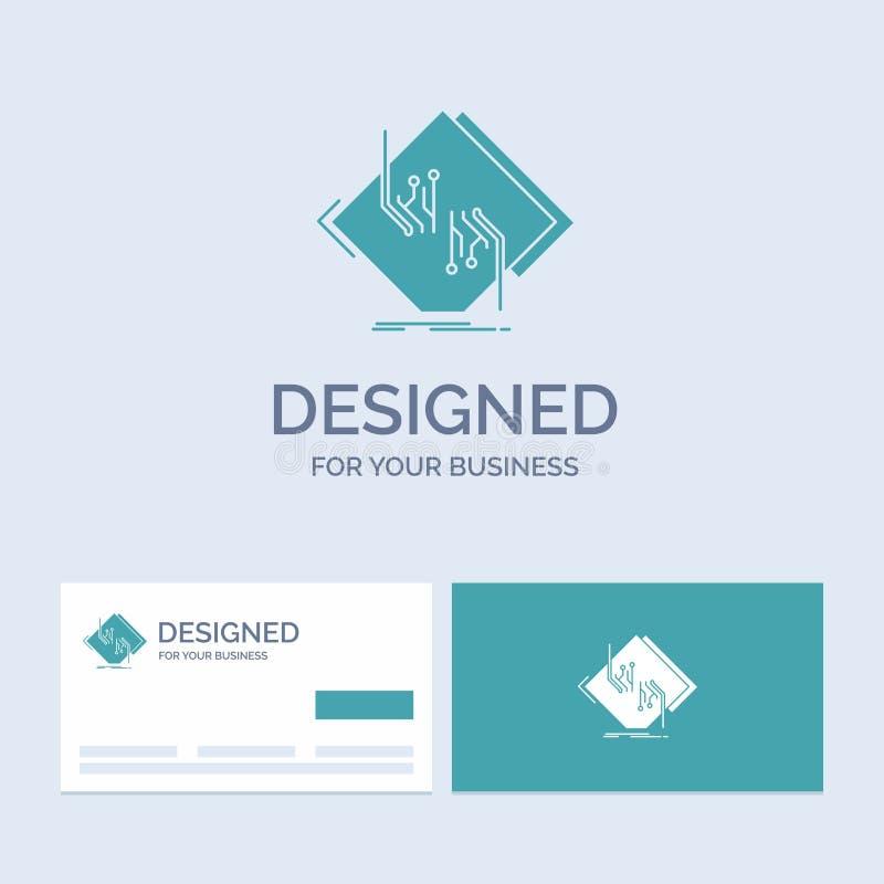 Raad, spaander, kring, netwerk, elektronische Zaken Logo Glyph Icon Symbol voor uw zaken Turkooise Visitekaartjes met Merk vector illustratie