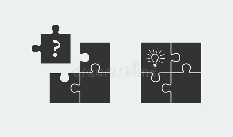 Raadsel die idee en oplossing symboliseren Eenvoudig oplossingenconcept stock illustratie