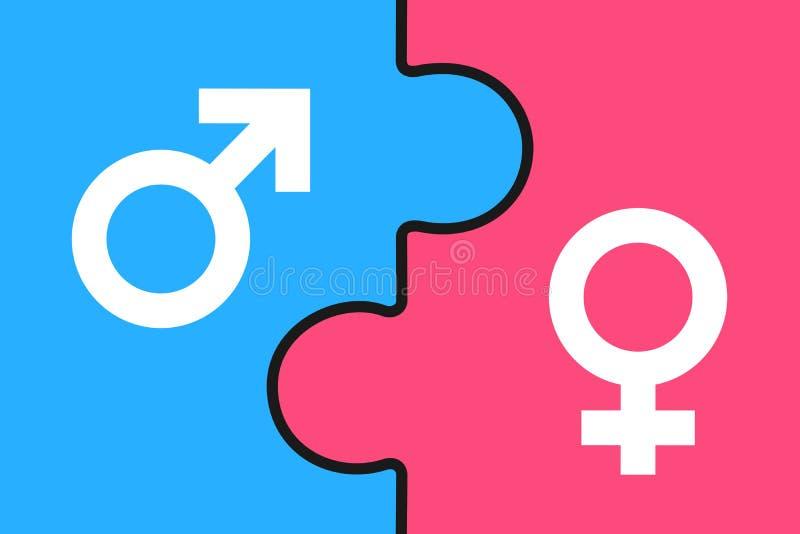 Raadsel - Man en vrouw/Mannetje en wijfje als bijkomend geslacht en geslacht royalty-vrije illustratie