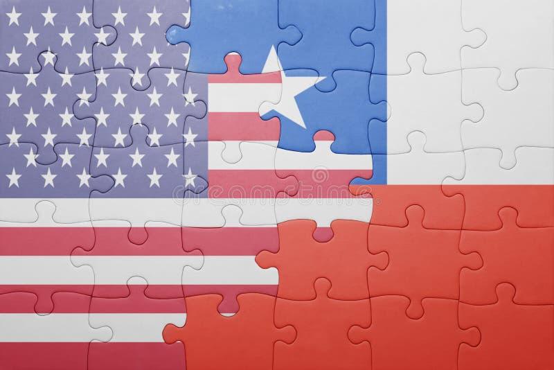 Raadsel met de nationale vlag van de Verenigde Staten van Amerika en Chili stock foto