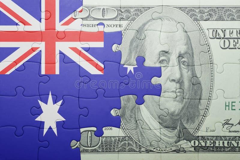 Raadsel met de nationale vlag van het bankbiljet van Australië en van de dollar stock foto