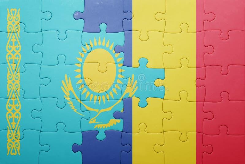 raadsel met de nationale vlag van Kazachstan en Roemenië royalty-vrije stock foto