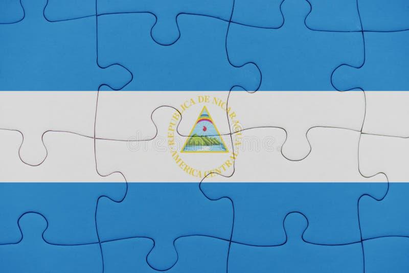 Raadsel met de nationale vlag van Nicaragua royalty-vrije stock foto