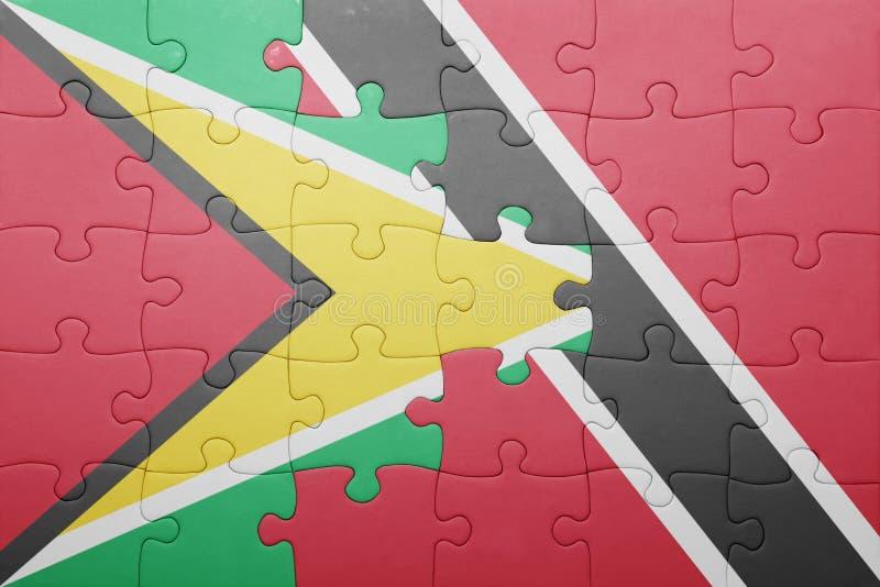 Raadsel met de nationale vlag van Trinidad en Tobago en Guyana stock afbeeldingen