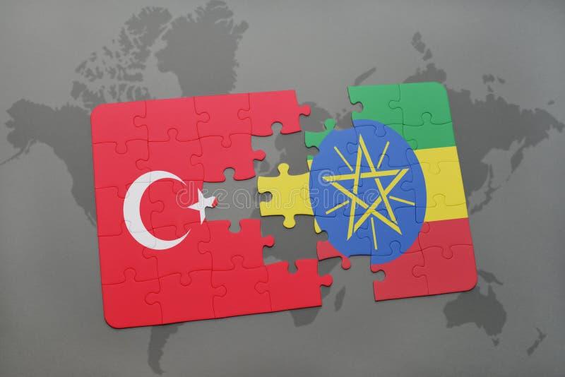 raadsel met de nationale vlag van Turkije en Ethiopië op een wereldkaart stock illustratie
