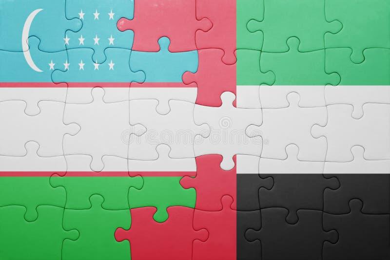 raadsel met de nationale vlag van verenigd Arabisch emiraten en Oezbekistan vector illustratie