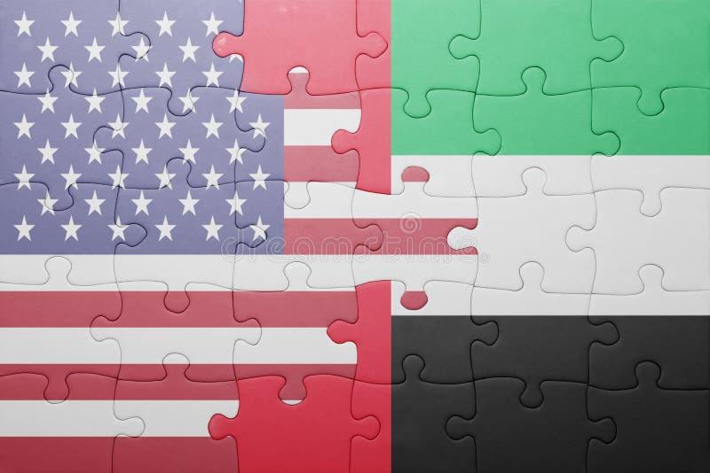 Raadsel met de nationale vlag van de Verenigde Staten van Amerika en verenigde Arabische emiraten royalty-vrije stock foto
