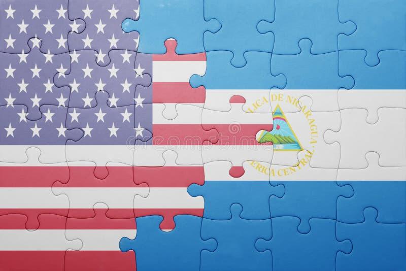 Raadsel met de nationale vlag van de Verenigde Staten van Amerika en Nicaragua royalty-vrije stock afbeelding