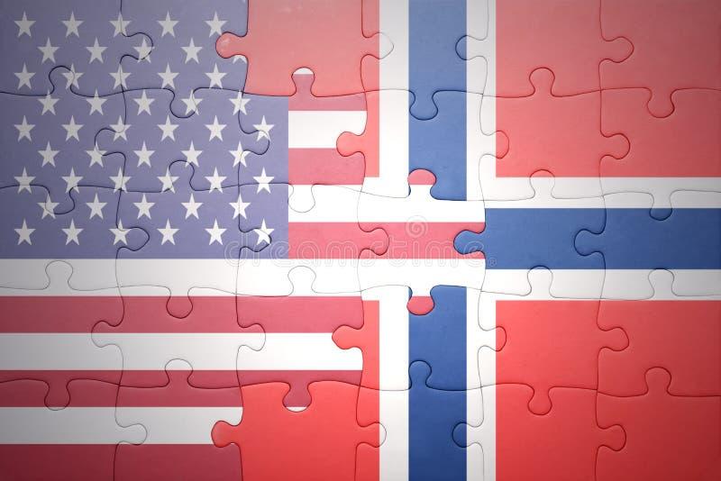 Raadsel met de nationale vlaggen van de Verenigde Staten van Amerika en Noorwegen stock afbeeldingen