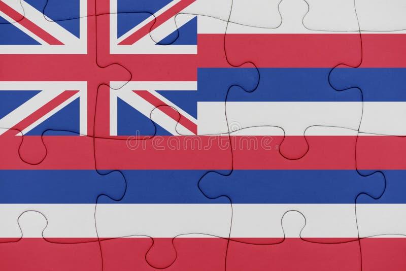 Raadsel met de vlag van de staat van Hawa? stock foto