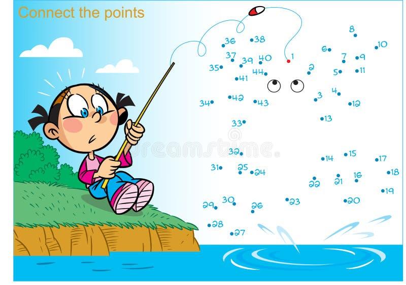 Raadsel met een meisje visserij stock illustratie