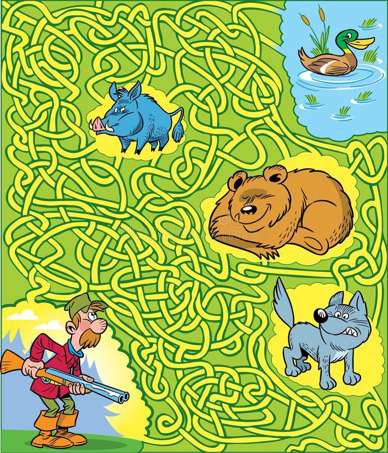 raadsel met een mensenjager en dieren stock illustratie