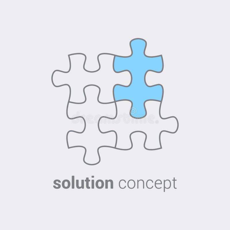 Raadsel met gekleurd deel als symbool dat in elk geval belangrijk het een oplossing vindt Concept die integratie leiden tot stock illustratie