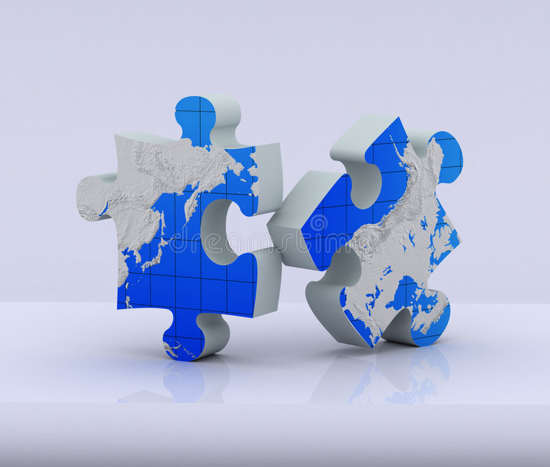 Raadsel twee van globale kaart stock illustratie