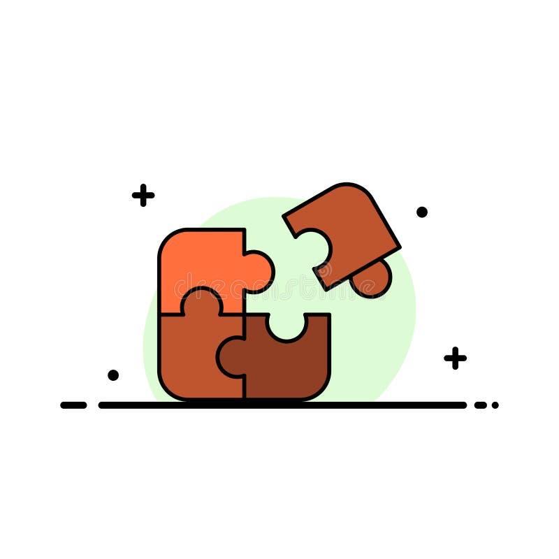 Raadsel, Zaken, Figuurzaag, Gelijke, Stuk, Malplaatje Succes van de Bedrijfs het Vlakke Lijn Gevulde Pictogram Vectorbanner vector illustratie