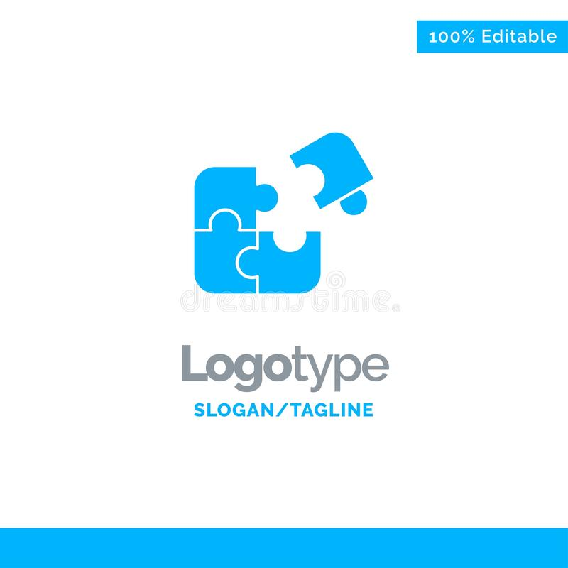 Raadsel, Zaken, Figuurzaag, Gelijke, Stuk, Succes Blauw Stevig Logo Template Plaats voor Tagline royalty-vrije illustratie