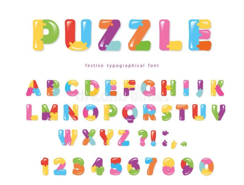 Raadseldoopvont De de kleurrijke creatieve letters en getallen van ABC royalty-vrije illustratie