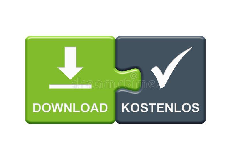 2 raadselknopen die Vrije Download het Duits tonen stock illustratie