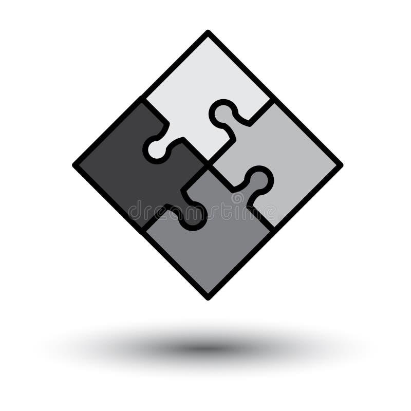 Raadselpictogram met schaduw Vector stock illustratie