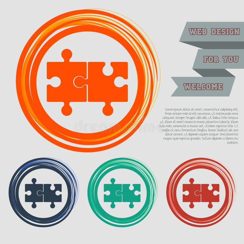 Raadselpictogram op de rode, blauwe, groene, oranje knopen voor uw website en ontwerp met ruimteteksten royalty-vrije illustratie