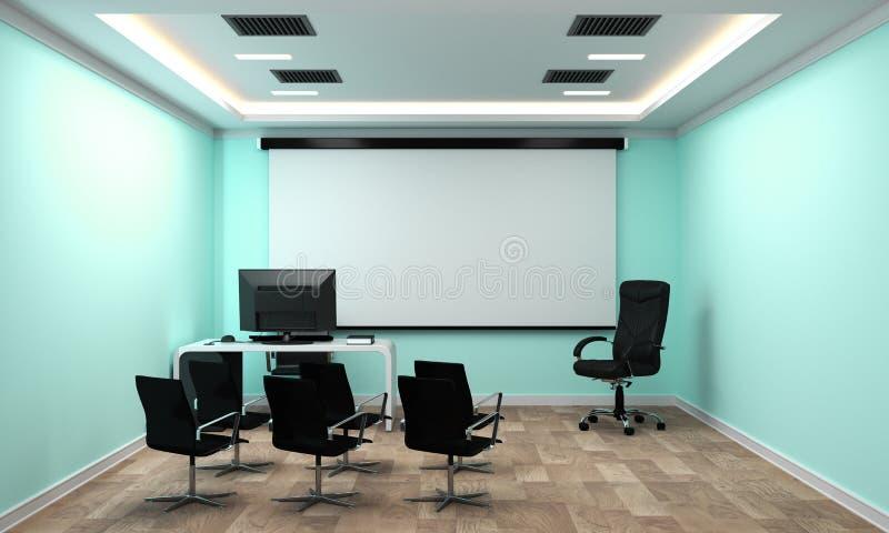 Raadsruimte - leeg bureauconcept, bedrijfsbinnenland met stoelen en installaties en houten vloer op lege muntmuur het 3d teruggev royalty-vrije illustratie
