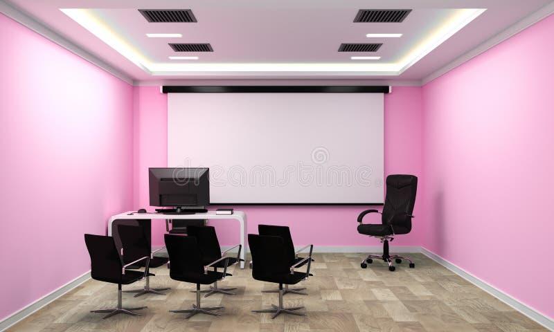 Raadsruimte - leeg bureauconcept, bedrijfsbinnenland met stoelen en installaties en houten vloer op roze lege muur het 3d terugge royalty-vrije illustratie