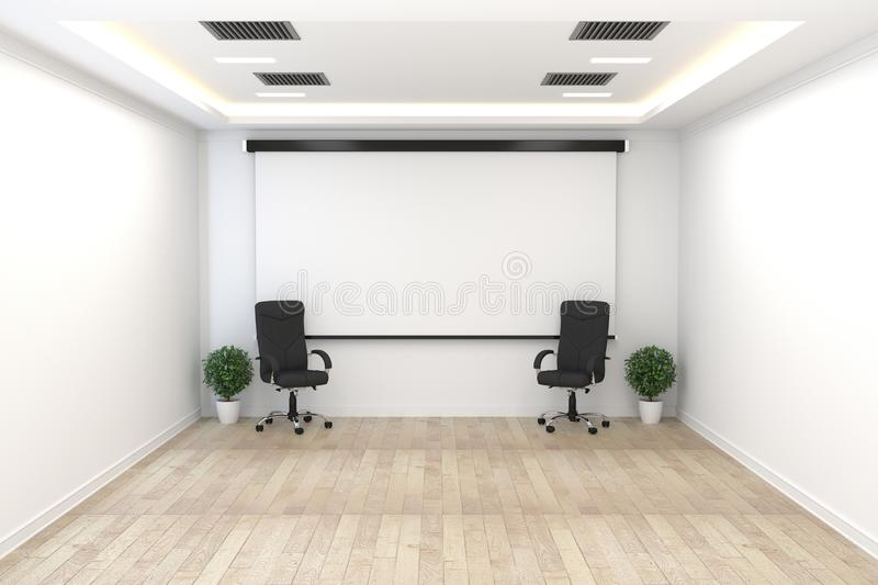 Raadsruimte - leeg bureauconcept, bedrijfsbinnenland met stoelen en installaties en houten vloer op witte lege muur het 3d terugg stock illustratie