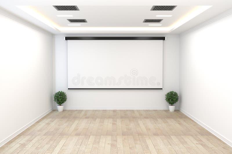 Raadsruimte - leeg concept, bedrijfsbinnenland met installaties en houten vloer op witte lege muur het 3d teruggeven stock illustratie