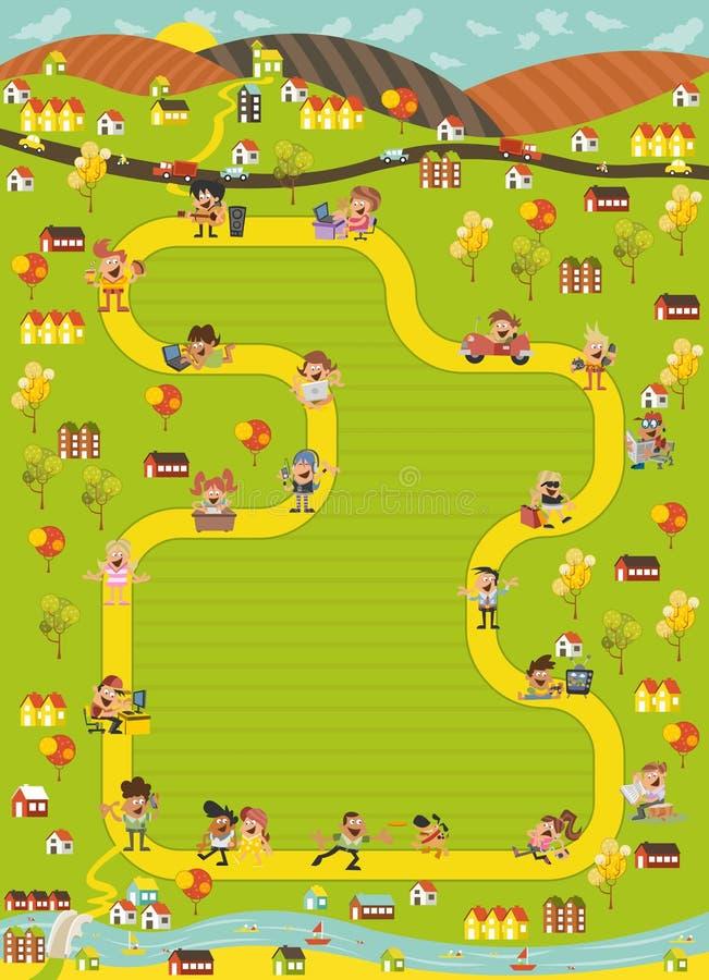 Raadsspel met een blokweg in de stad met beeldverhaalmensen royalty-vrije illustratie