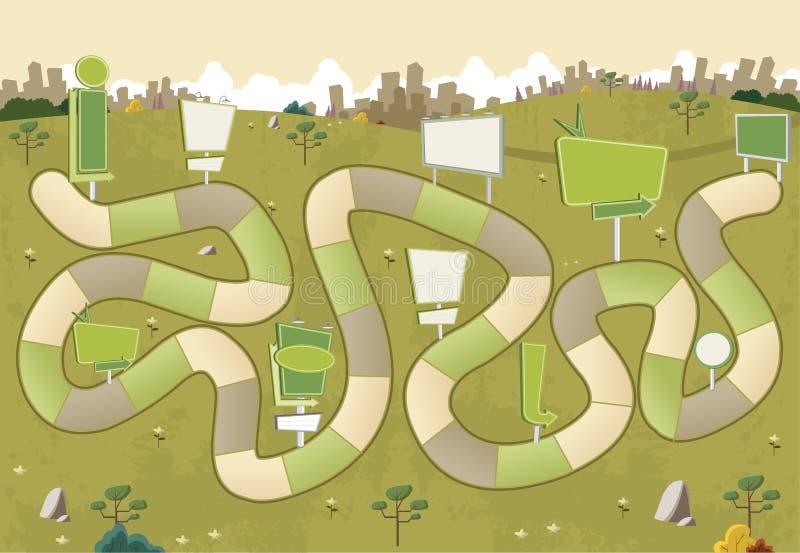 Raadsspel met een blokweg op een geel park met aanplakborden royalty-vrije illustratie