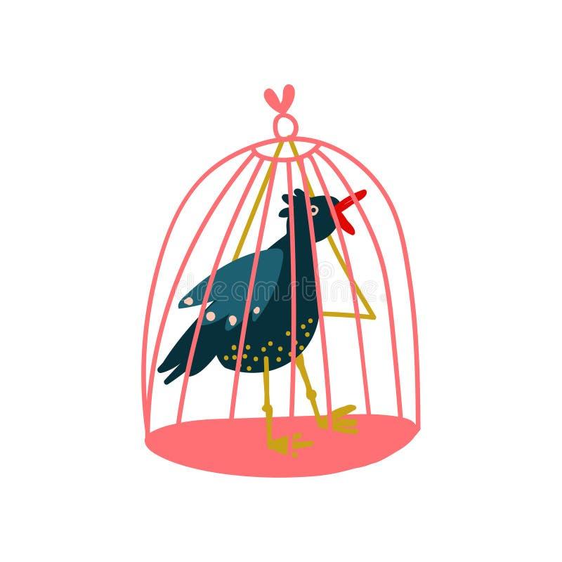 Raaf in Birdcage, Magisch Voorwerp, de Vectorillustratie van Hekserijattributen royalty-vrije illustratie