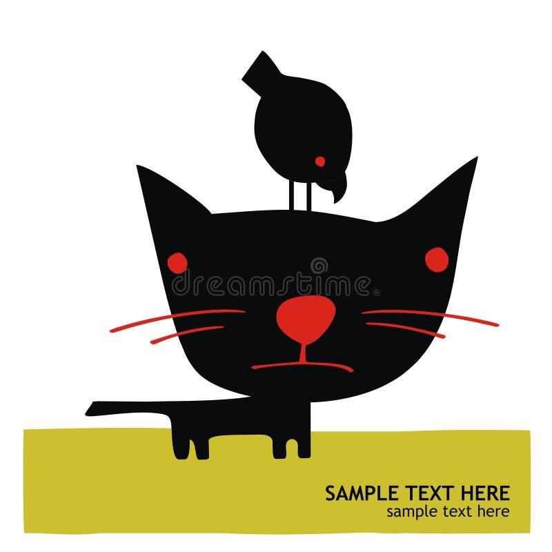 Raaf die op hoofd van een zwarte kat wordt neergestreken royalty-vrije stock fotografie