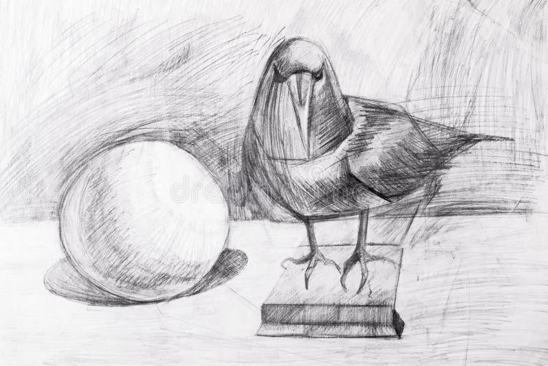 Raaf en de bal met een potlood wordt getrokken dat royalty-vrije stock afbeeldingen