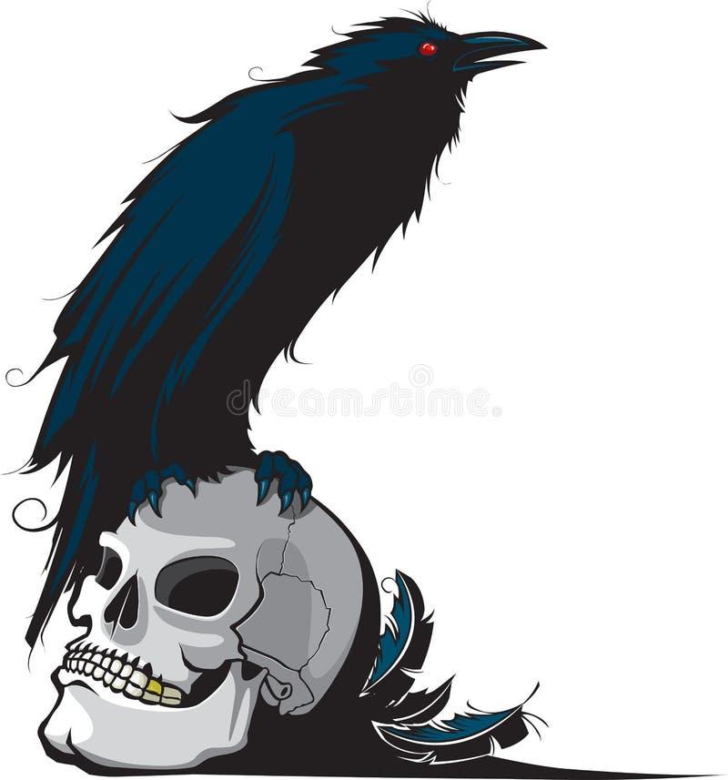 Raaf en schedel royalty-vrije illustratie