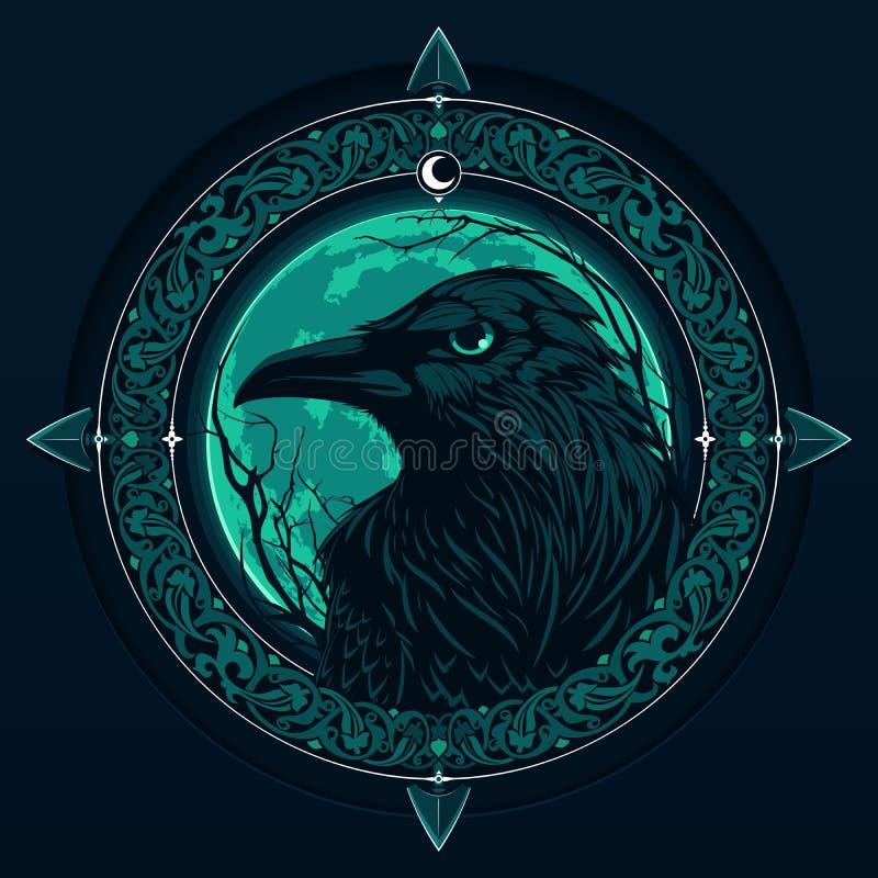 Raaf op nachtachtergrond vector illustratie