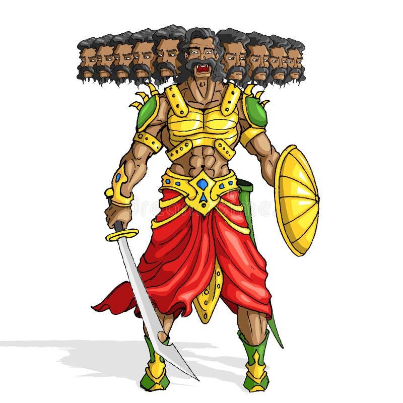 Raavana с 10 головками иллюстрация штока