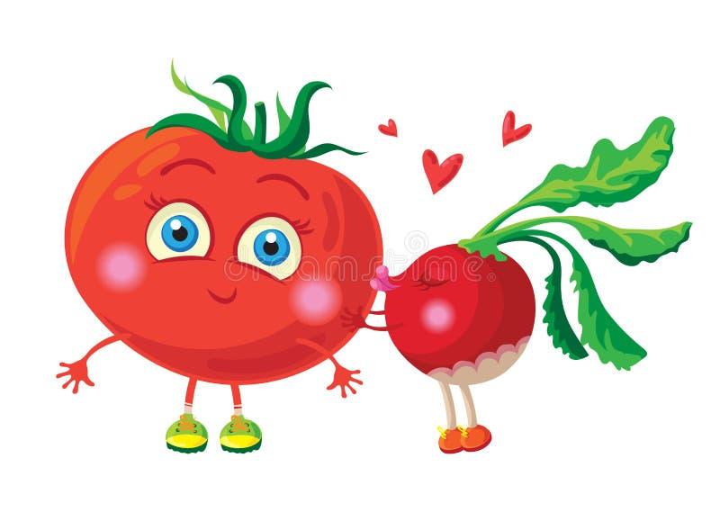 Rabanete no amor com tomate Grupo do trabalho do vetor characters ilustração stock