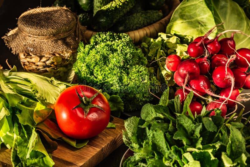 Rabanete vermelho, tomate, couve, alface e erva-cidreira na tabela Alimentos do vegetariano foto de stock royalty free