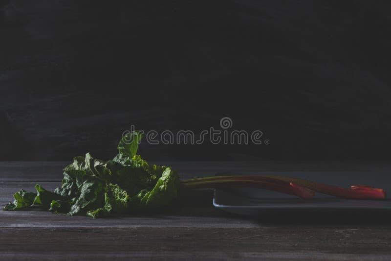 Rabarbaro fresco sul piatto grigio e sulla vecchia tavola di legno fotografia stock libera da diritti