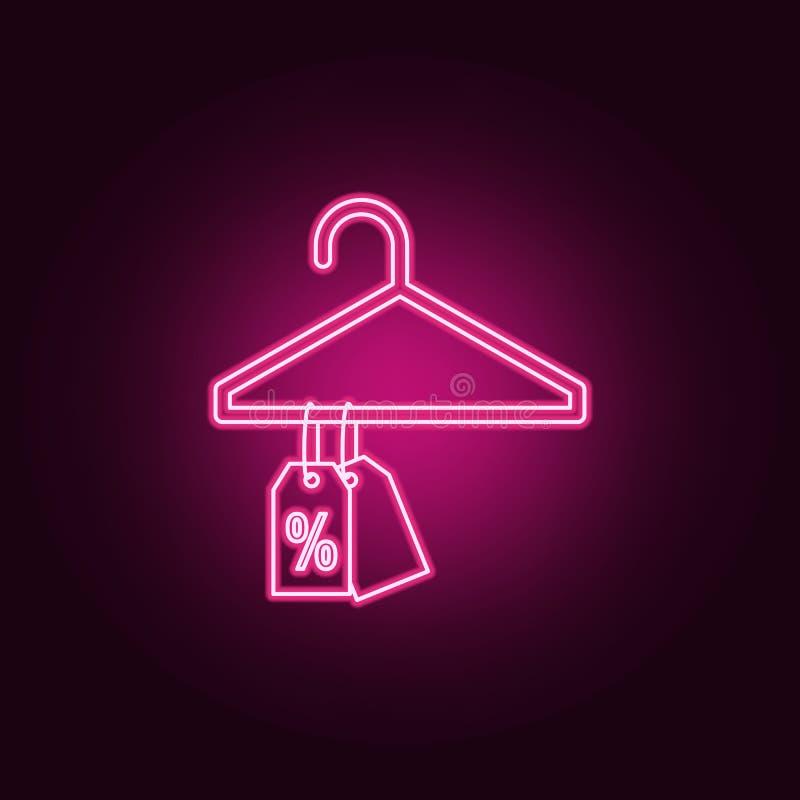 rabat etykietki na wieszak neonowej ikonie Elementy sprzeda? set Prosta ikona dla stron internetowych, sie? projekt, mobilny app, ilustracji