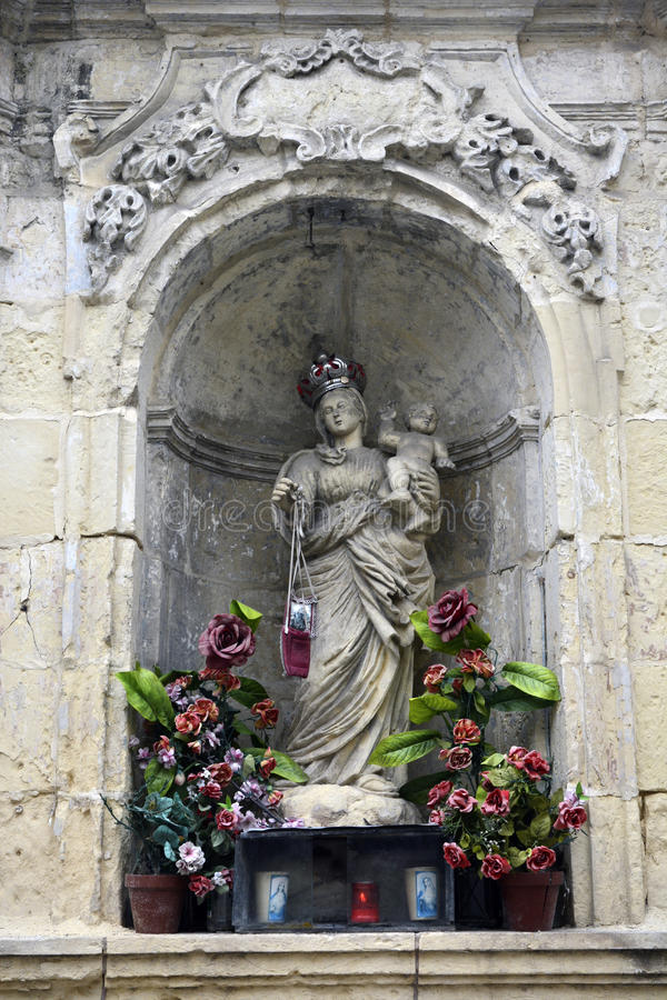 Rabat, Malta – February 1, 2016. Statue of Virgin Mary with Child in Rabat, Malta royalty free stock image