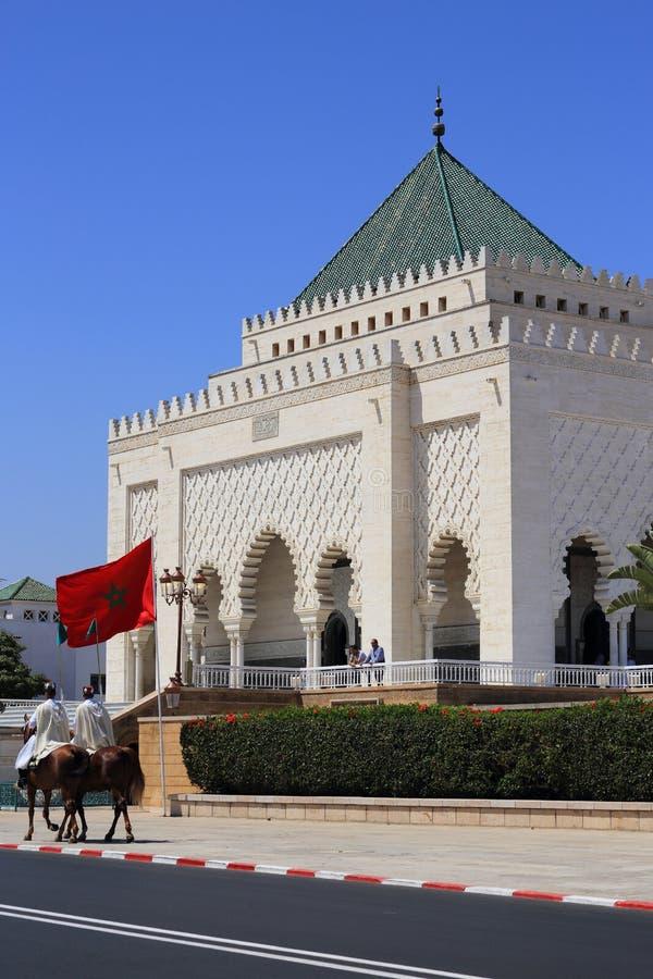 Rabat, Marrocos O mausoléu da fachada de Mohammed V imagem de stock