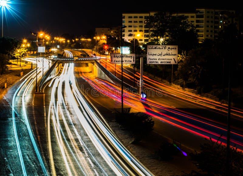Rabat miasto przy nocą zdjęcie stock