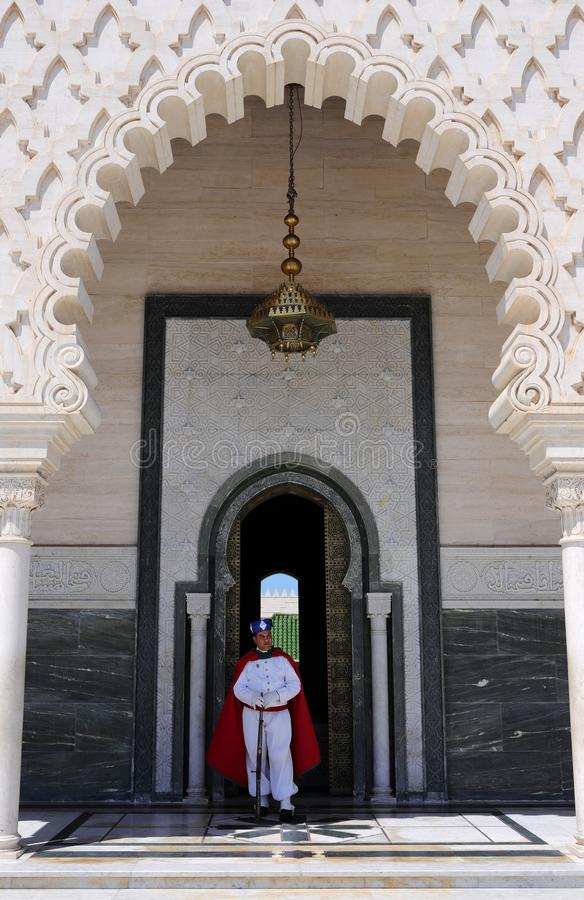Rabat, Morocco. The Mausoleum of Mohammed V facade, guarded by Royal Guard. royalty free stock photos