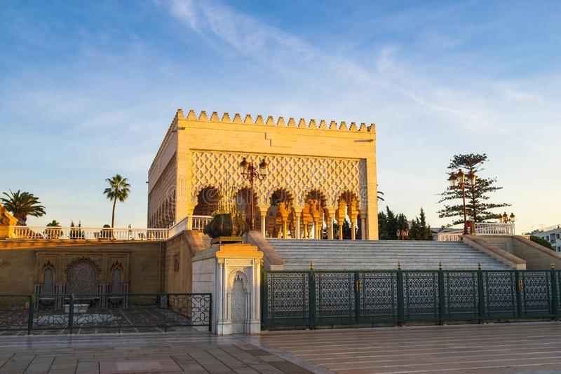 Moroccan architectural features of the mausoleum of Hassan V. Rabat, northern Africa ,Moroccan architectural features of the mausoleum of Hassan V ,Unfinished royalty free stock photography
