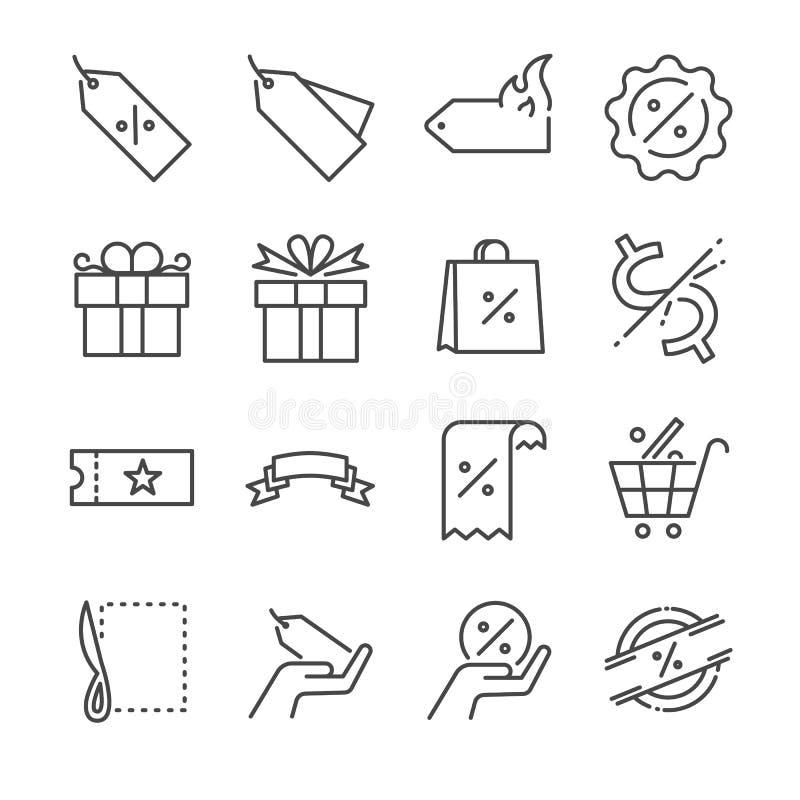 Rabata i sprzedaży ikony kreskowy set Zawrzeć ikony jako metka, cena rabat, odznaka, talon, specjalna oferta i więcej, ilustracja wektor