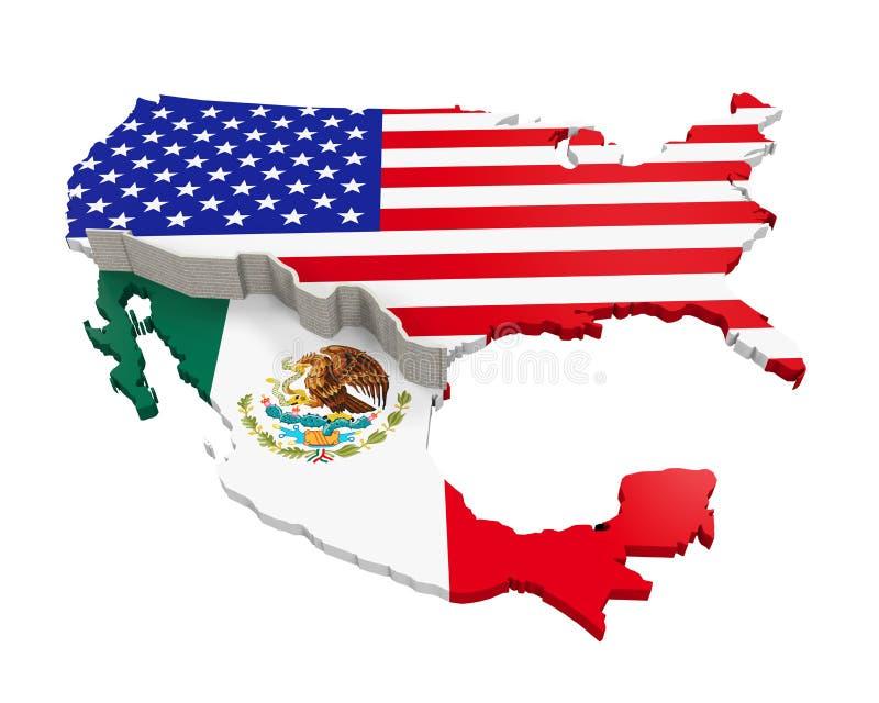 Rabatowa ściana Między Ameryka i Meksyk ilustracja wektor