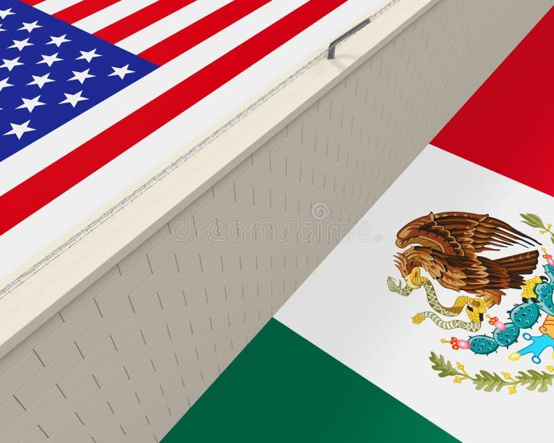 Rabatowa ściana Między Ameryka i Meksyk royalty ilustracja