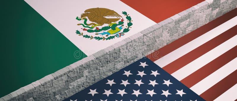 Rabatowa ściana między USA Ameryka i Meksyk flagi ilustracja 3 d royalty ilustracja